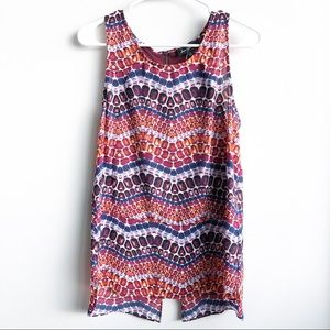 (NWOT) Sam Edelman Sadie Print Split Back Tank Top